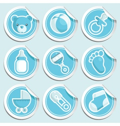 Blue bashower stickers vector