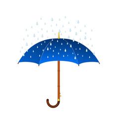 blue umbrella and rain vector image