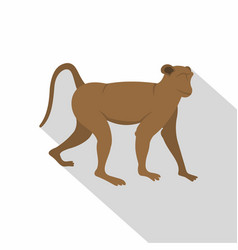 Brown monkey icon flat style vector