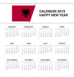 Calendar 2019 albania flag background english vector