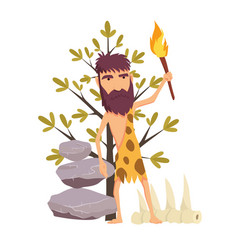 cartoon stone age man with torch ancient people vector image