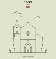 cathedral funchal portugal vector image