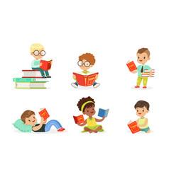 Children read a lot books set vector