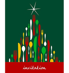 Christmas Tree Cutlery vector image