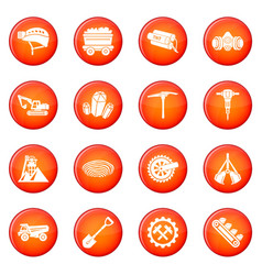Coal mine icons set red vector