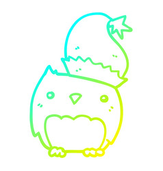 Cold gradient line drawing cute christmas owl vector