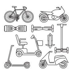 Collection bike and scooter icons vector