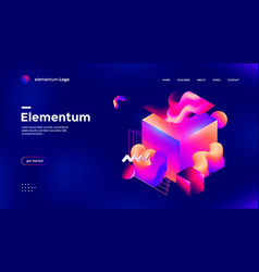 Colorful 3d geometric banner with gradient shape vector