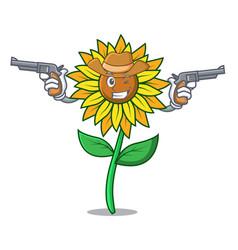 Cowboy sunflower character cartoon style vector