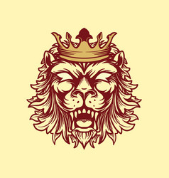 crowned lion style vintage vector image