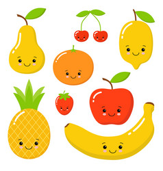 cute bright colors of fruits collections vector image