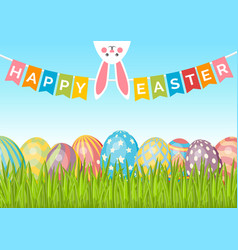Easter background with eggs on green grass bunny vector