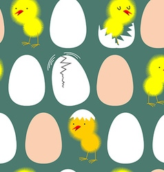 Egg and chicken Chicks in their shells seamless vector image