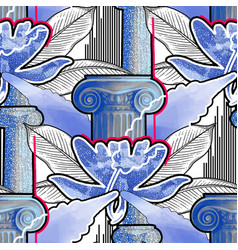 exotic design with ancient column of ionic order vector image