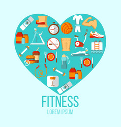 fitness colorful flat poster vector image