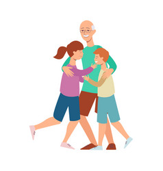 Flat family grandfather hugs girl and boy vector