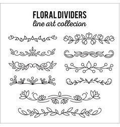 Flourishes dividers set line style decoration vector