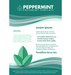 Green document template with three peppermint vector