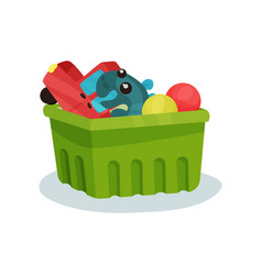 Green plastic container full of children toys vector