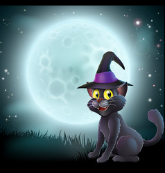 halloween full moon witch cat vector image