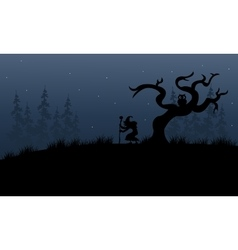 Halloween witch in forest scary vector image