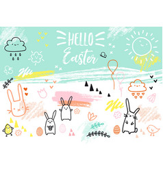 hand-drawn easter card with bunnies vector image