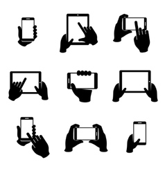 Hands holding phone and tablet icons set vector