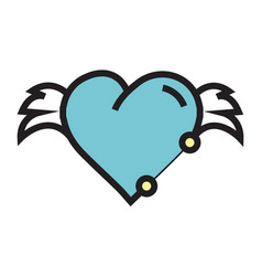 Hearts wings pen tool design blue vector