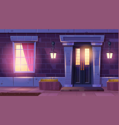 House facade with door and window at night vector
