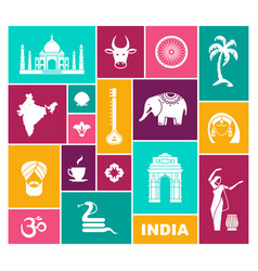 icons of india flat icon with traditional vector image