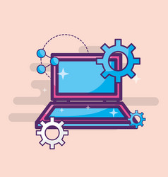 laptop share setting technology device vector image