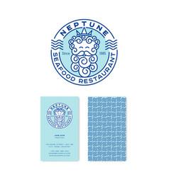 Logo neptune seafood restaurant emblems vector