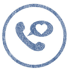 Love phone message rounded fabric textured icon vector