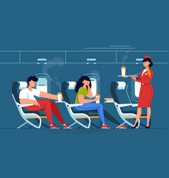 man and woman with stewardess relax with drinks in vector image