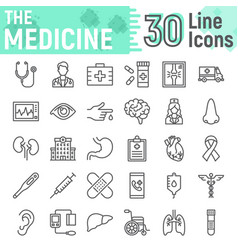 medicine line icon set hospital symbols vector image