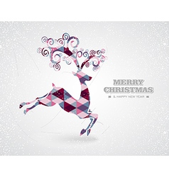 Merry Christmas retro geometric reindeer vector image