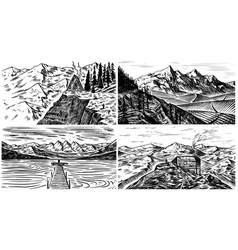 mountain landscape backgrounds set alpine peaks vector image