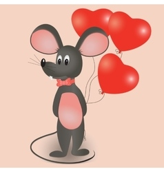 Mouse with balloons in the form of heart vector image