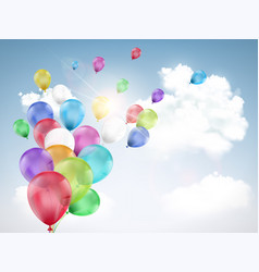 multi-colored balloons flying vector image