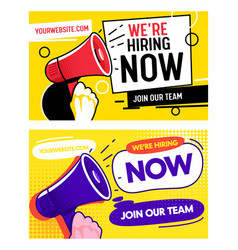 now hiring career opportunity banner set job vector image