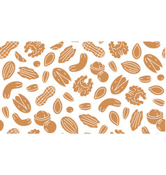 nut seamless pattern with flat silhouette icons vector image