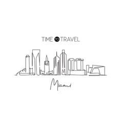 one continuous line drawing miami city skyline vector image