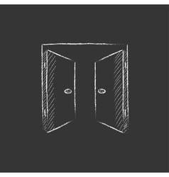 Open doors Drawn in chalk icon vector