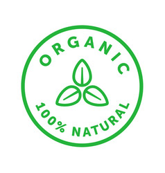 Organic 100 percent natural product green sticker vector