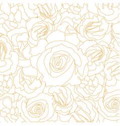 pattern blossoming rose buds golden outline vector image