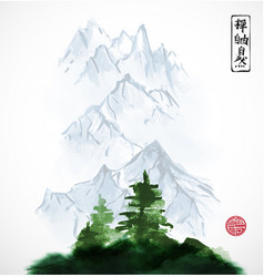 Pine trees and distant mountains traditional vector