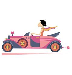 Pretty woman drives car vector