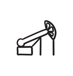 Pump jack oil crane sketch icon vector