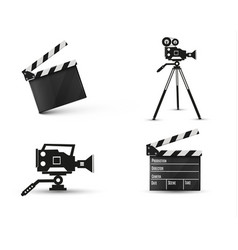 Realistic clapperboard on a white background vector
