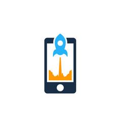 rocket mobile logo icon design vector image